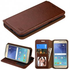 Samsung Galaxy J2 Brown Wallet with Tray