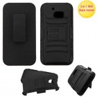 HTC 10 Black/Black Advanced Armor Stand Protector Cover (With Black Holster)