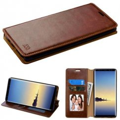 Samsung Galaxy Note 8 Brown Wallet with Tray