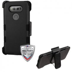 LG V20 Rubberized Black/Black Hybrid Case with Black Horizontal Holster