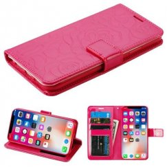 Apple iPhone X Hot Pink Rose Embossed Wallet