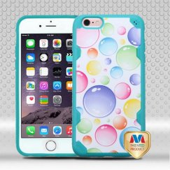 Apple iPhone 6/6s Plus Rainbow Bigger Bubbles/Tropical Teal Hybrid Case-with Image