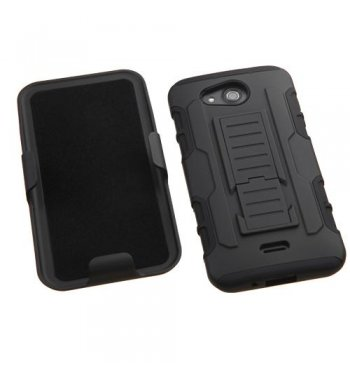 Kyocera Wave / Hydro Air Black/Black Advanced Armor Stand Protector Cover (With Black Holster)