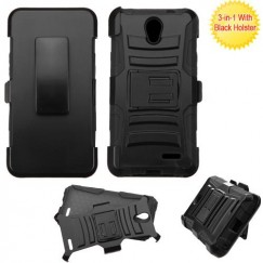 ZTE Chapel Black/Black Advanced Armor Stand Case with Black Holster