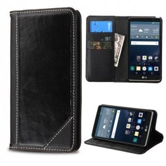LG G Stylo Black Genuine Leather Wallet