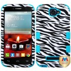 Alcatel One Touch Fierce 2 Zebra Skin/Tropical Teal Hybrid Phone Protector Cover