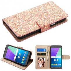 Samsung Galaxy J3 Rose Gold Hexagon Flakes Wallet with Card Slots