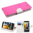 Motorola Moto G4 / Moto G4 Plus Hot Pink Pattern/White Liner wallet with Card Slot