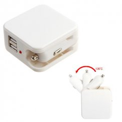 White 2-in-1 Dual USB Car/Travel Charger