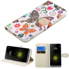 LG G5 Butterfly Wonderland Diamante Wallet with Diamante Belt