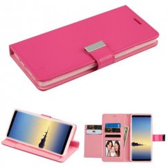 Samsung Galaxy Note 8 Hot Pink/Pink PU Leather Wallet with extra card slots