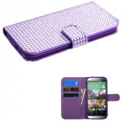 HTC One M8 Purple Diamonds Book-Style Wallet with Card Slot