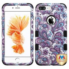 Apple iPhone 8 Plus Purple European Flowers/Black Hybrid Case