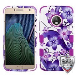 Motorola Moto G5 Plus Purple Hibiscus Flower Romance/Electric Purple Hybrid Case