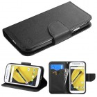 Motorola Moto E 2nd Gen Black Pattern/Black Liner wallet with Card Slot
