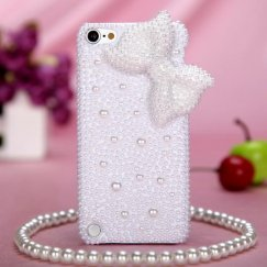 Apple iPod Touch (5th Generation) White Bow Pearl 3D Diamante Back Case