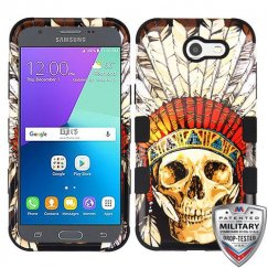 Samsung Galaxy J3 DeadChiefSkull/Black Hybrid Case Military Grade