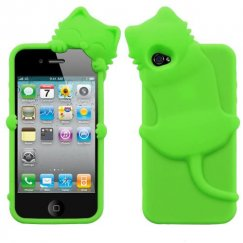 Apple iPhone 4/4s Electric Green Cat Peeking Pets Skin Cover