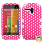 Motorola Moto G Dots(Pink/white)/White Hybrid Phone Protector Cover