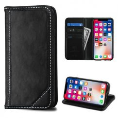 Apple iPhone X Black Genuine Leather Wallet