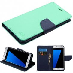 Samsung Galaxy S8 Plus Teal Green Pattern/Dark Blue Liner wallet with Card Slot