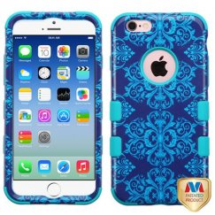 Apple iPhone 6/6s Purple/Blue Damask/Tropical Teal Hybrid Case