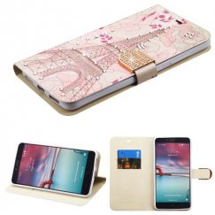 ZTE Grand X Max 2 Eiffel Tower Diamante Wallet with Diamante Belt