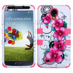 Samsung Galaxy S4 Morning Petunias/Electric Pink Hybrid Case