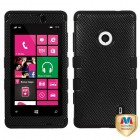 Nokia Lumia 521 Carbon Fiber/Black Hybrid Case