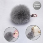 Cellphone Charm-Gray White Fox Wool Ball (Diameter:5.12 inch)