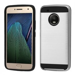Motorola Moto G5 Plus Silver/Black Brushed Hybrid Case
