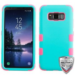 Samsung Galaxy S8 Active Rubberized Teal Green/Electric Pink Hybrid Case Military Grade