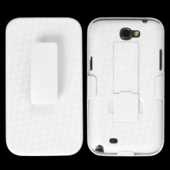 Samsung Galaxy Note 2 Rubberized Solid Ivory White Hybrid Holste with Stand