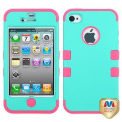 Apple iPhone 4/4s Rubberized Teal Green/Electric Pink Hybrid Case