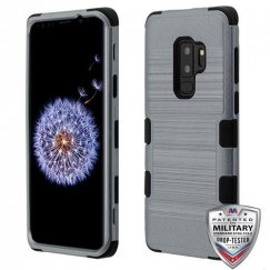 Samsung Galaxy S9 Plus Slate Blue Brushed/Black Hybrid Phone Case Military Grade