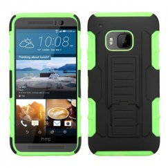 HTC One M9 Black/Electric Green Car Armor Stand Case - Rubberized