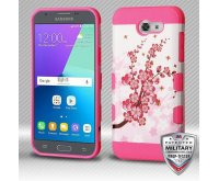 Samsung Galaxy J3 Spring Flowers/Electric Pink Hybrid Protector Cover [Military-Grade Certified]