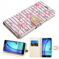 Samsung Galaxy On5 Pink Fresh Roses Diamante Wallet with Diamante Belt