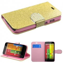 Motorola Moto G Gold Glittering Wallet with Diamante Belt