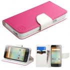 Alcatel One Touch Elevate Hot Pink Pattern/White Liner wallet with Card Slot
