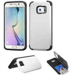 Samsung Galaxy S6 Edge Silver Inverse Advanced Armor Stand Case with Card Wallet