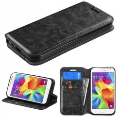 Samsung Galaxy Core Prime Black Wallet with Tray