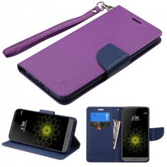 LG G5 Purple Pattern/Dark Blue Liner wallet with Lanyard