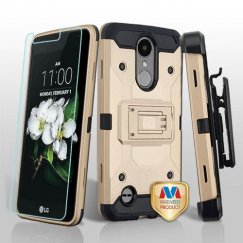 LG K8 Gold/Black 3-in-1 Kinetic Hybrid Case Combo with Black Holster and Tempered Glass Screen Protector