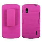 LG Nexus 4 Rubberized Hot Pink Hybrid Holster