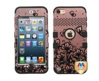 Black Lace Flowers (2D Rose Gold)/Black TUFF Hybrid Phone Protector Cover