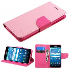 Kyocera Hydro Reach / Hydro View Pink Pattern/Hot Pink Liner Wallet with Card Slot