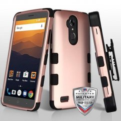 ZTE Blade Max 3 / Max XL Rose Gold/Black Hybrid Case Military Grade with Black Horizontal Holster