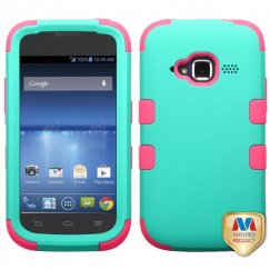 ZTE Concord 2 Rubberized Teal Green/Electric Pink Hybrid Case