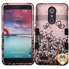 ZTE Grand X Max 2 Black Lace Flowers 2D Rose Gold/Black Hybrid Case